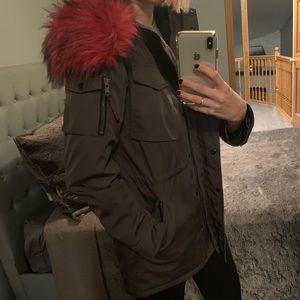 S13 New York green/pink fur hood jacket